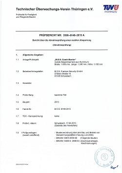 B.O.S Franken Security Sicherheitsdienstleister Zertifikat ISO 9001:2015 DIN 77200 Dekra TüV
